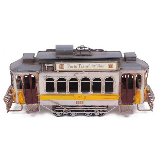 Nostaljik Dekoratif Metal Tramvay Sarı