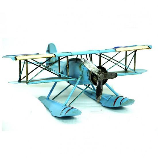 Nostaljik Dekoratif Metal Uçak Çift Kanatlı