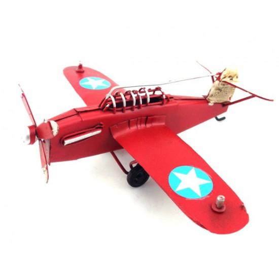 Nostaljik Dekoratif Metal Uçak Maketi