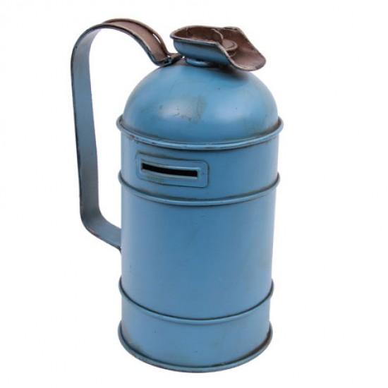 Nostaljik Dekoratif Metal Yakıt Bidonu Kumbaralı Mavi