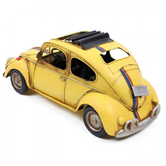 Nostaljik Dekoratif Metal Vosvos Araba Sarı
