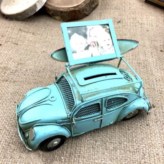 Nostaljik Mavi Vosvos Bavullu Kumbara ve Resim Çerçevesi
