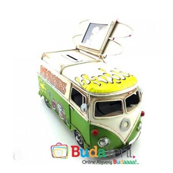 Nostaljik Metal Araba Desenli Vosvos Minibüs Resim Çerçevesi ve Kumbara (Yeşil)