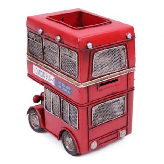 Metal Araba Londra Şehir Otobüsü Kalemlik