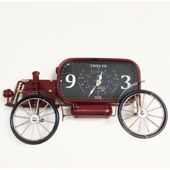 Nostaljik Metal Araba Tasarımlı Duvar Saati Büyük Boy