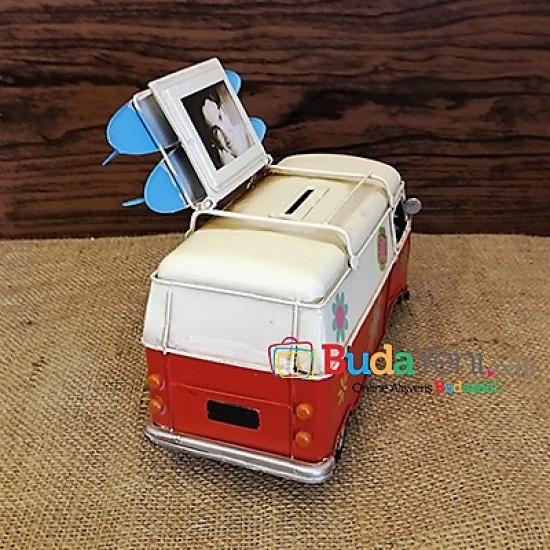 Nostaljik Metal Araba Çiçek Desenli Vosvos Minibüs Çerçeve ve Kumbara