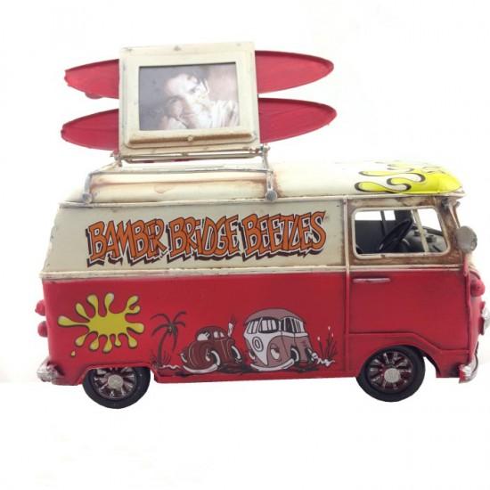 Nostaljik Metal Desenli Vosvos Minibüs Resim Çerçevesi ve Kumbara