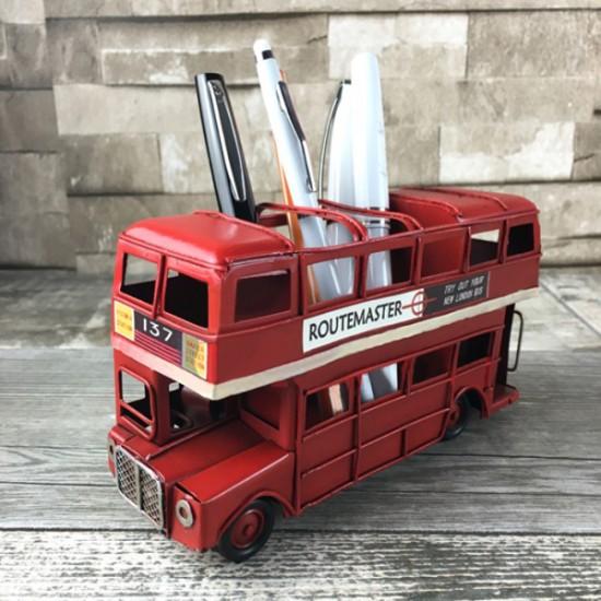 Nostaljik Metal Araba Kalemlikli London Bus