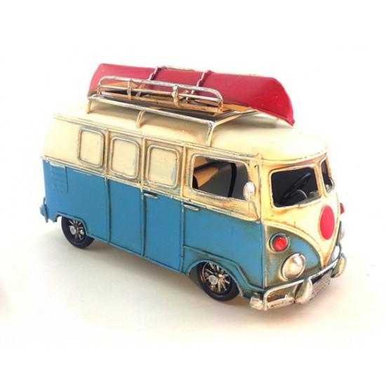 Nostaljik Metal Mavi Kayıklı Vosvos Minibüs Orta Boy