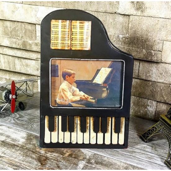 Nostaljik Metal Piyano Tasarımlı Resim Çerçevesi Siyah