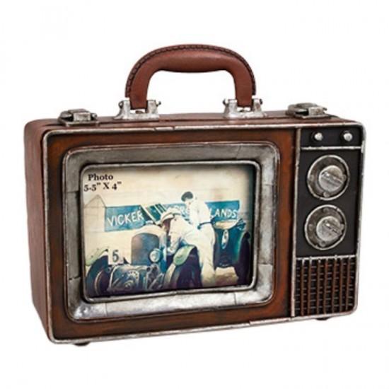 Nostaljik Metal Tv Resim Çerçeveli ve Saklama Kutulu Bavul
