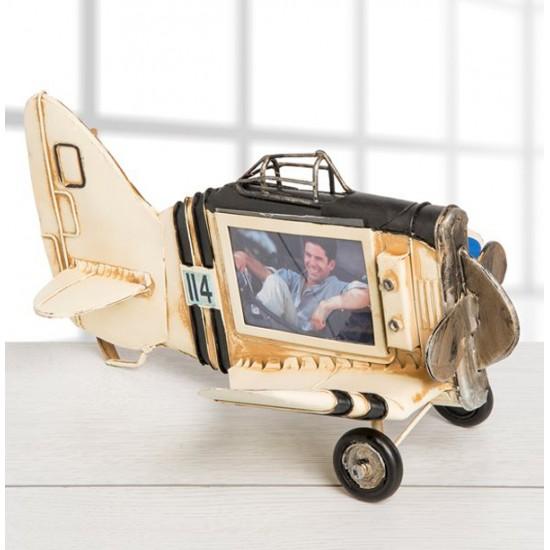 Nostaljik Metal Uçak Şeklinde Çerçeve Modeli