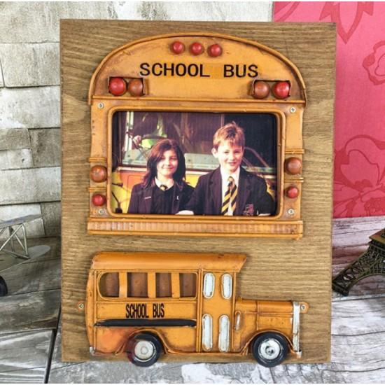 Nostaljik Tasarımlı Resim Çerçeveli Sarı School Bus