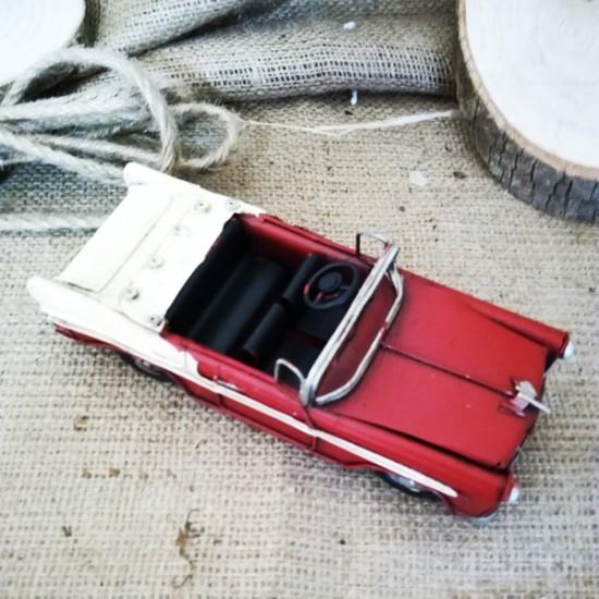 Nostaljik Üstü Açık Metal Araba Kırmızı Dekoratif Chevrolet