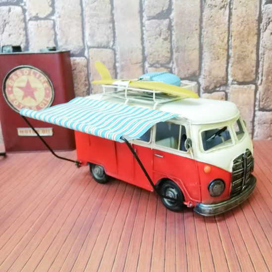 Nostaljik Vosvos Karavan Minibüs Kırmızı Büyük Boy