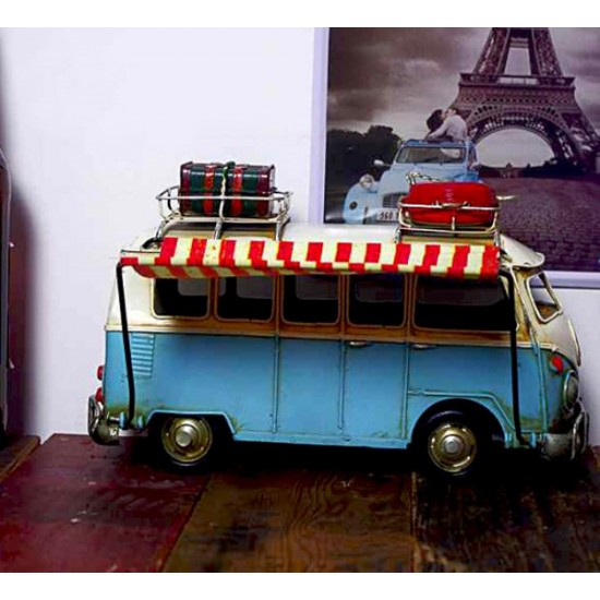 Nostaljik Wolkswagen Mavi Karavan Minibüs Metal Araba (Dev Boyut)