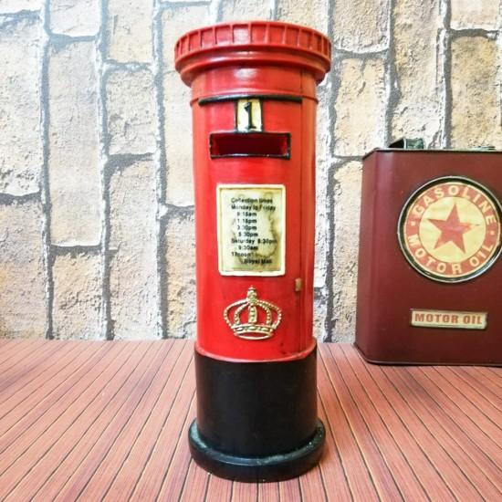 Posta Kutusu Şekline Metal Kırmızı Kumbara