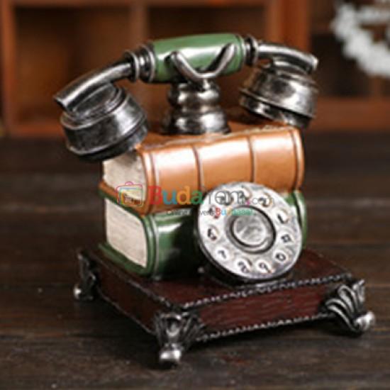 Retro Reçine Telefon Heykelcik Kumbara