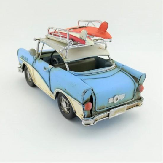 Retro Resim Çerçeveli Mavi Chevrolet Metal Araba