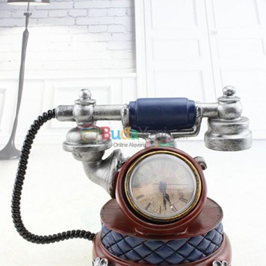 Retro Telefon Reçine kumbara Dekorasyon Saati Telefonu Heykelcik