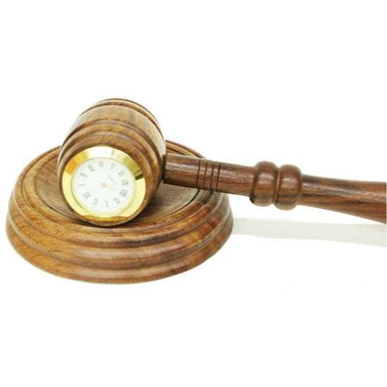 Saatli ve Ahşap Hakim Tokmağı
