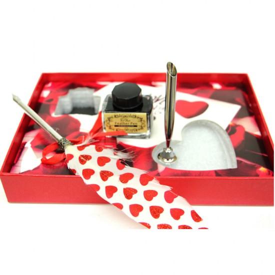 Sevgiliye Özel Masa Üstü  Divit  Tüylü Kalem Mürekkep Seti Kırmızı