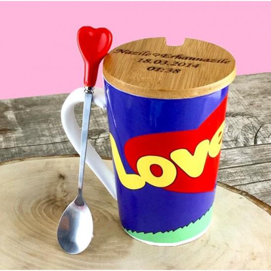 Şıpsevdi Love İs Temalı Ahşap Kapaklı Kupa Bardak