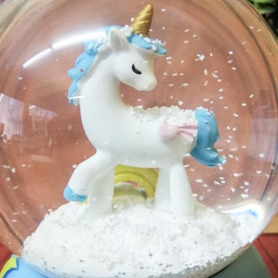 Unicorn Temalı Işıklı Kar Küresi