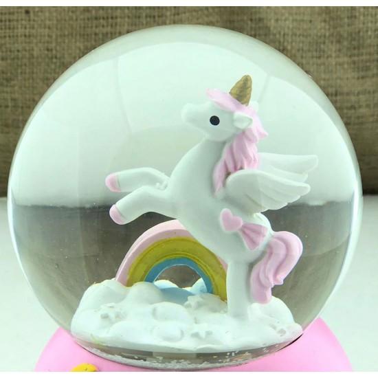 Unicorn Temalı Işıklı Kar Küresi ve Müzik Kutusu (PEMBE)