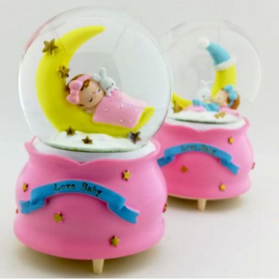 Uyuyan Bebekli Kar küresi ve Müzik Kutusu