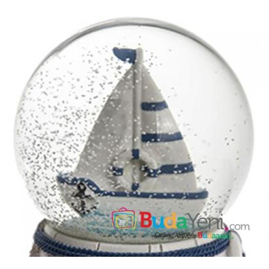 Yelkenli Gemi Kar Küresi ve Müzik Kutusu