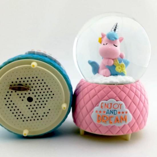 Zevk ve Hayal Unicorn Temalı Kar Küresi ve Müzik Kutusu