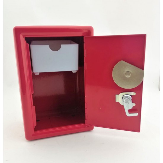 Anfi Hoparlör Şeklinde Metal Kilitli Kasa Kumbara  Kırmızı