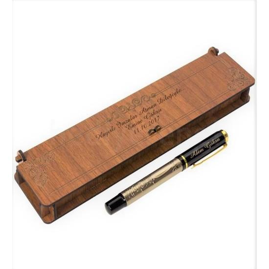 İsme Özel Besmele  Yazılı Kabartmalı Roller Kalem Ve Ahşap Kutu
