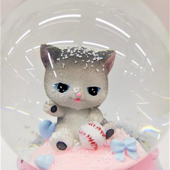 Sevimli Kedi Temalı  Işıklı Müzikli  Kar Küresi