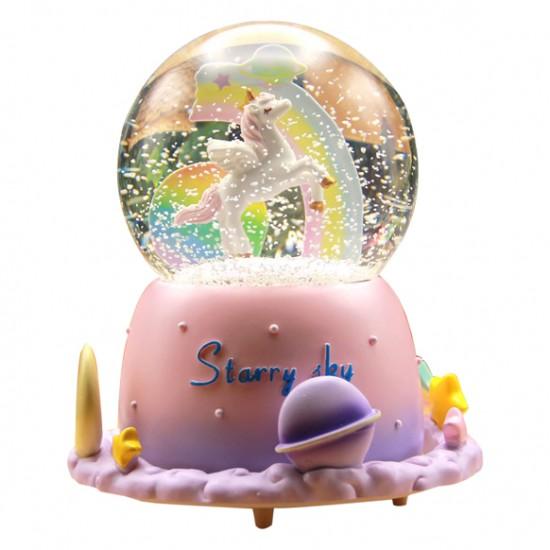 Yıldızlı Gökyüzü Unicorn Kar Küresi