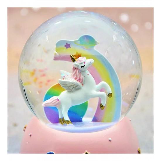 Yıldızlı Unicorn Kar Küresi