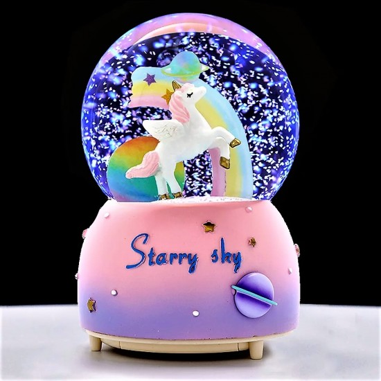 Yıldızlı Unicorn  Motorlu Işıklı Kar Küresi
